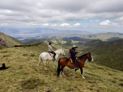 Riding horses through the Andes