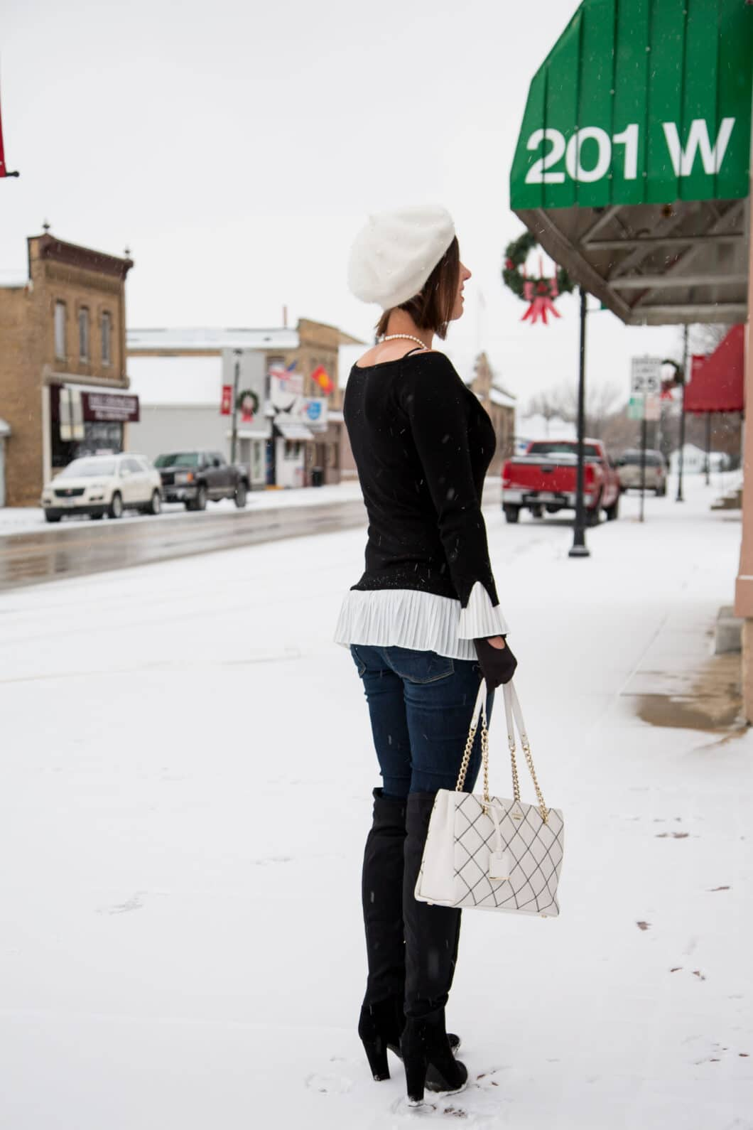 Unique Vintage Beret - DSW OTK Boots - Layered B&W Sweater
