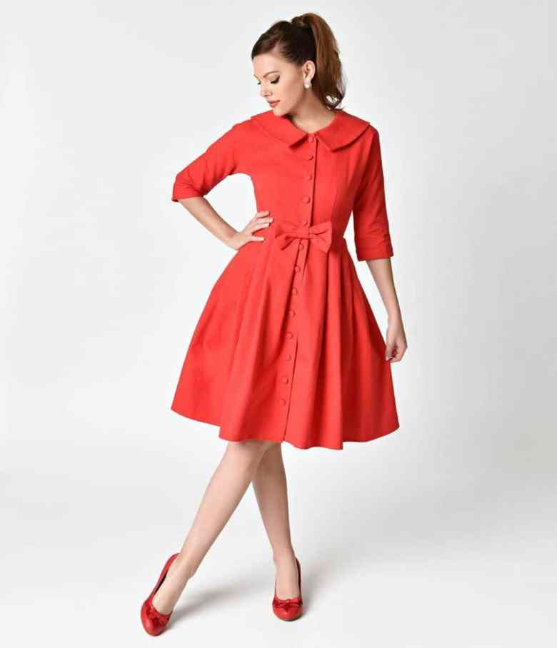 Unique_Vintage_1950s_Style_Red_Button_Up_Sleeved_Hedren_Coatdress