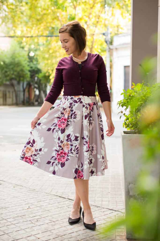 Floral midi skirt + cropped cardigan for spring