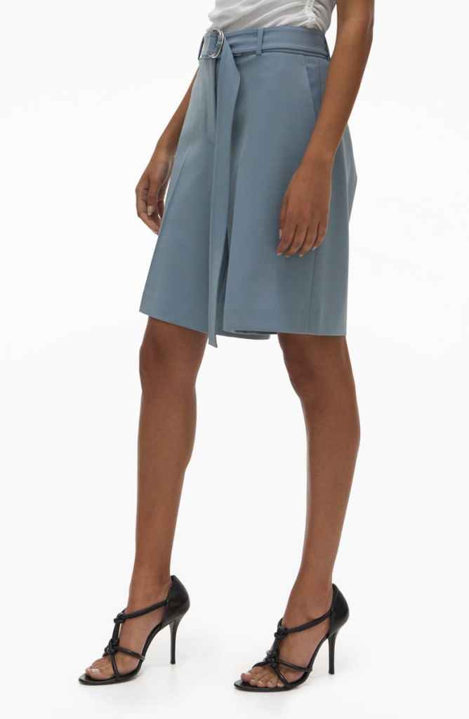 Belted Stretch Wool Blend Suit Shorts HELMUT LANG