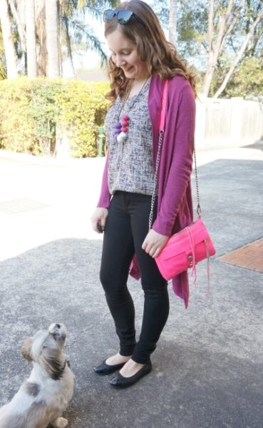 awayfromblue purple cardigan printed tank black nobody denim jeans pink neon pink mini MAC spring
