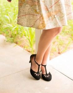 black t strap heels