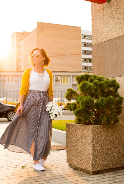 Transitioning a Maxi Skirt from Summer to Fall