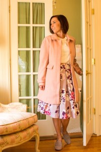 Wearing Pink in Fall - ModCloth coat, floral skirt, suede loafers