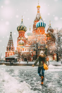 Have Clothes, Will Travel in Moscow, Russia during a snowstorm