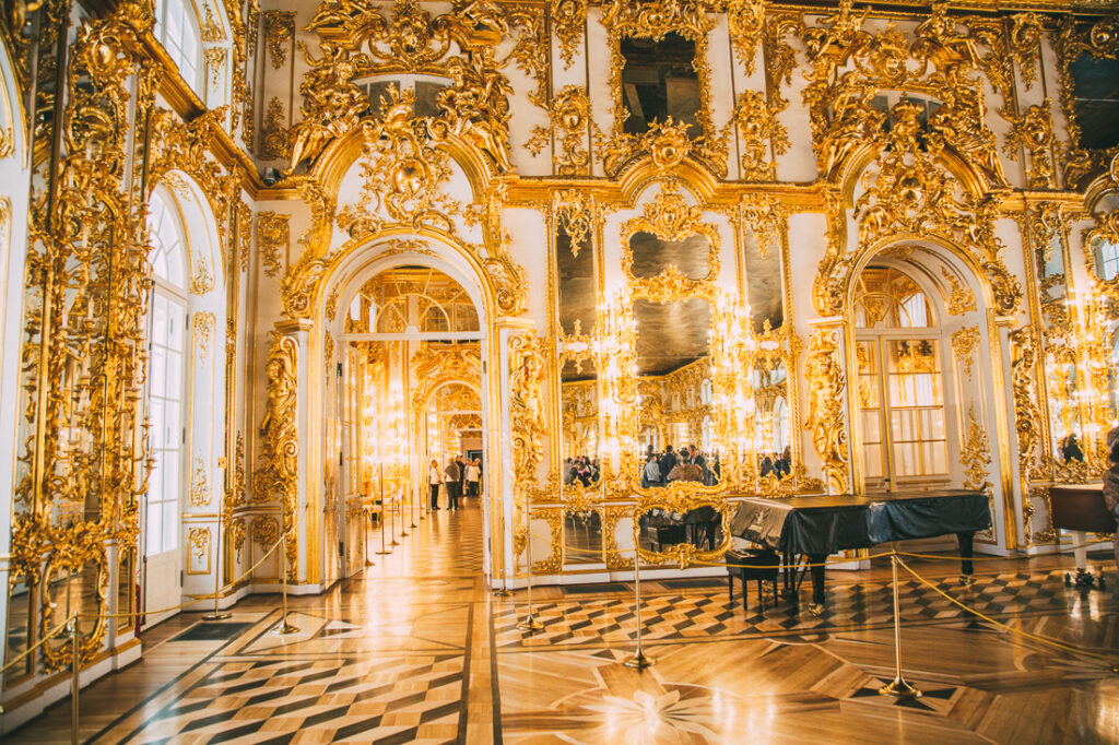 Golden interiors of Catherine Palace one of the many incredible things to do in St. Petersburg Russia