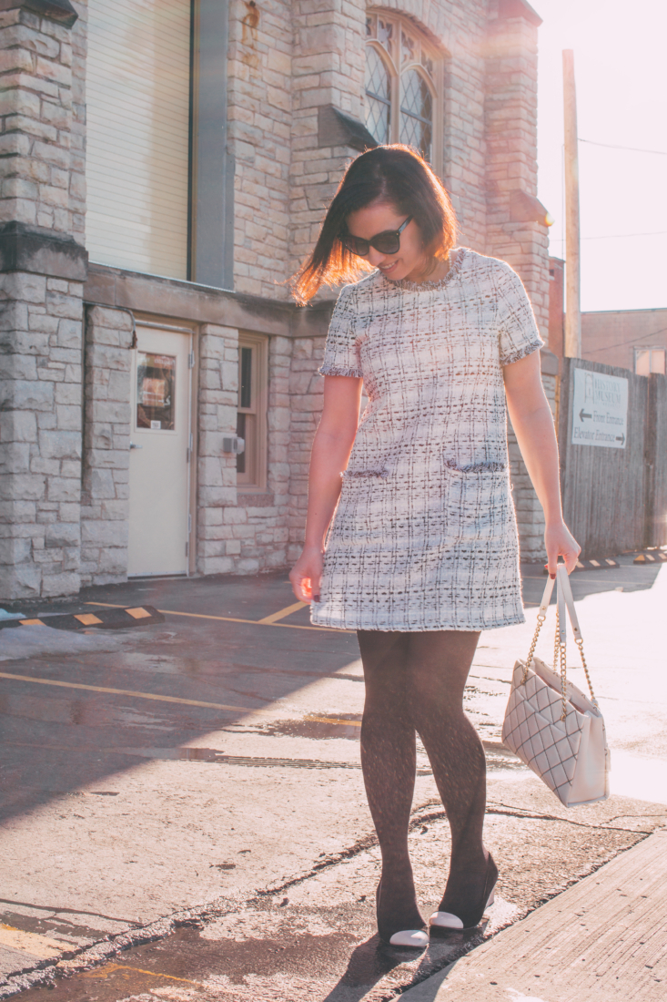 Styling a Tweed Dress for Spring