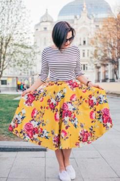 ModCloth floral midi skirt