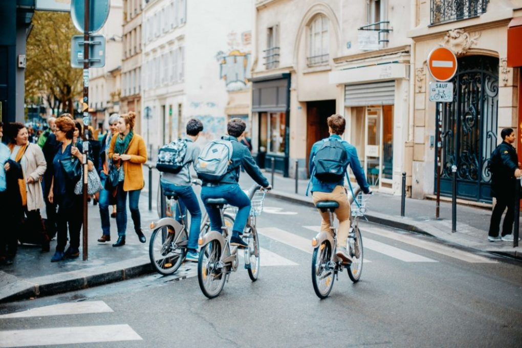 Using bikes provided by the city