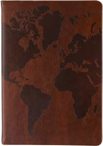 Eccolo World Traveler Style Journal World Map Notebook, 256 Lined Pages, 6x8