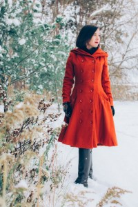 ModCloth burnt orange swing coat