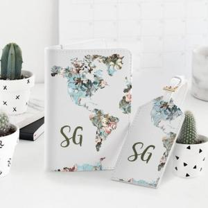 Passport Holder And Luggage Tag Travel Set World Map Document Wallet Card Holder Custom Design Personalized Passport Covers Organizer YG1286