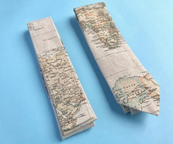 Vintage world map tie, groomsmen's tie