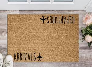 Arrivals and Departures Door Mat -House Warming Gift -Personalized Doormat -Traveler Gift -Bon voyage Gift -welcome mat