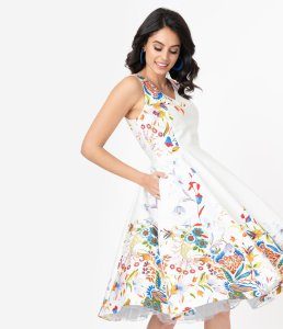 Ivory Double Border Floral Print Swing Dress by Unique Vintage