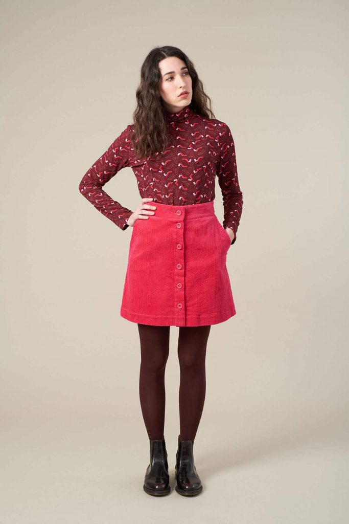 IRIS PINK CORD SKIRT by Emily & Fin - a fabulous store like ModCloth