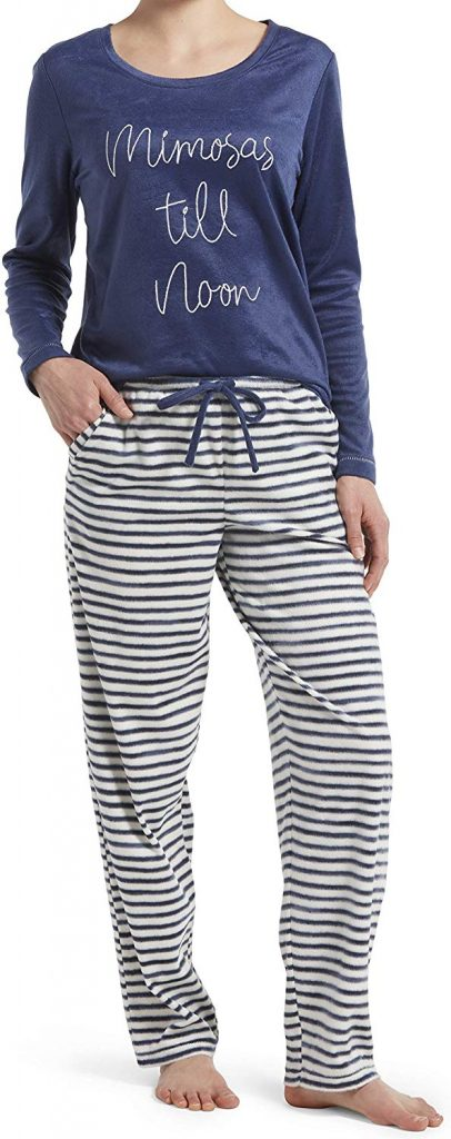 HUE Women's Sueded Fleece Long Sleeve Tee and Pant 2 Piece Pajama Set