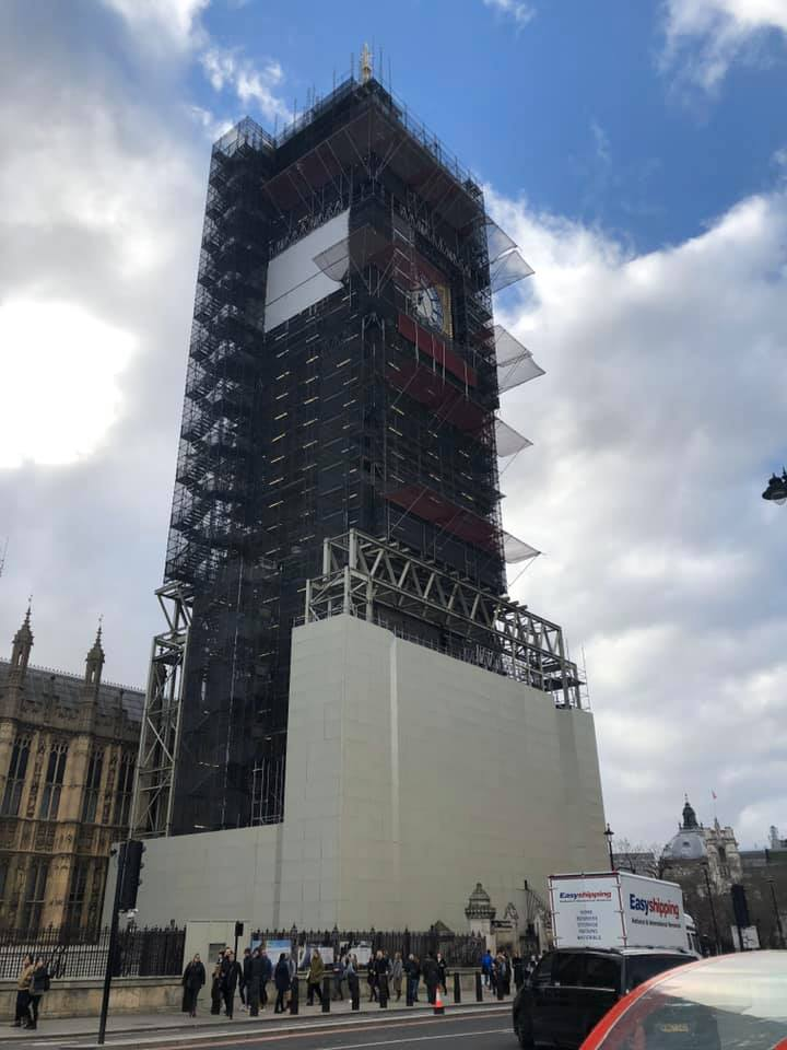 Big Ben Scaffolding Under Construction London