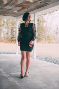 Black Mesh Ruffle Long Sleeve Bodycon Mini Dress - Trying Trends with a Puff Sleeve Dress