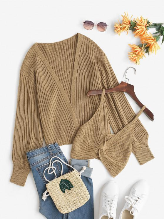 Open Knit Cardigan And Twisted Cami Top Set