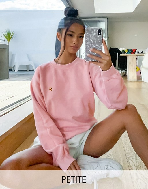 Topshop Petite pizza sweatshirt in pink