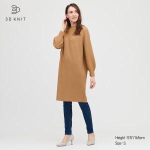 WOMEN 3D KNIT COTTON BALLOON LONG-SLEEVE DRESS
