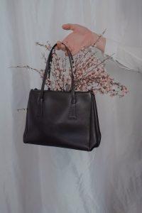 Black leather tote bag