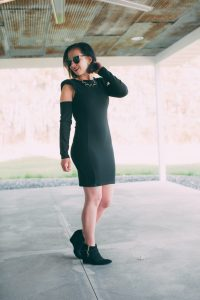 Trying a Shoulder Pads Bodycon Mini Dress With Cut Out Sleeves