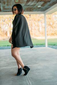 Black Cape Extreme Sleeve Bodycon Mini Dress