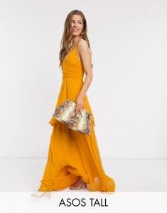 ASOS DESIGN Tall soft layered cami maxi dress in sunflower yellow
