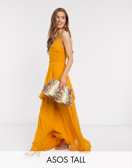 ASOS DESIGN Tall soft layered cami maxi dress in sunflower yellow