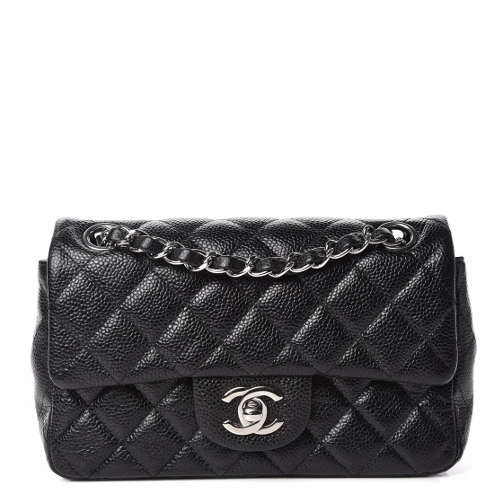 CHANEL Caviar Quilted Mini Rectangular Flap Black
