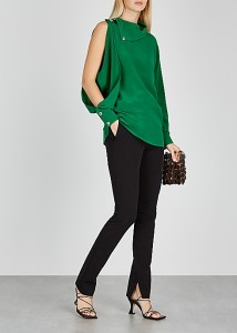 CHRISTOPHER KANE Green asymmetric crepe de chine blouse