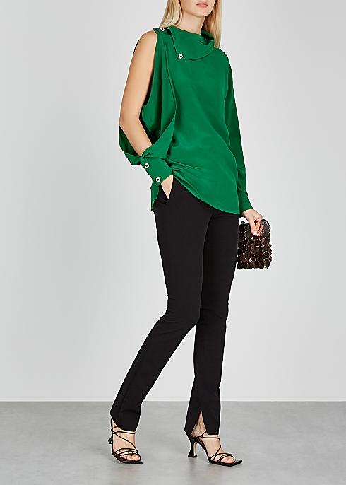 CHRISTOPHER KANE Green asymmetric crepe de chine blouse