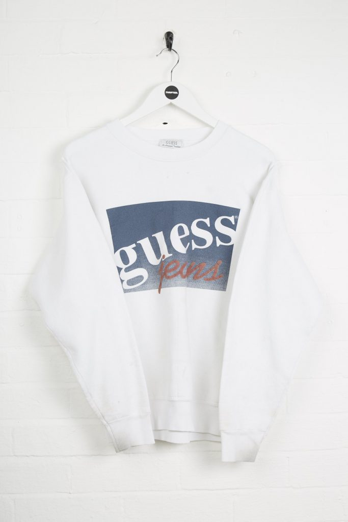 Vintage Guess Sweatshirt - Small White Cotton