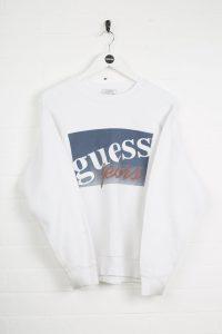 Vintage Guess Sweatshirt - Small White Cotton