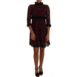 DOLCE & GABBANA Black Floral Lace Burgundy Gown Mock Collar Dress