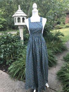 Vintage 70s 80s Handmade Prairie Dress Ditsy Maxi Bib Boho Peasant Festival Euc