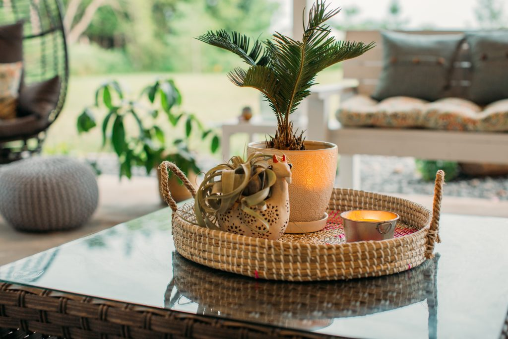 Decorative rattan serving tray with llama air plant planter candle and palm tree for a boho chic patio