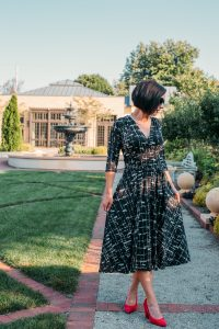 Margaret dress Sharp Sketch twirling and worn by Lindsey of Have Clothes, Will Travel