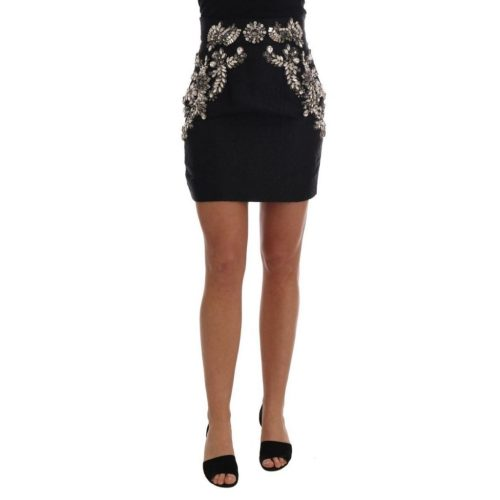 DOLCE & GABBANA New Black Brocade Crystal High Mini Skirt
