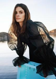 Organza Sleeve Silk Midi Dress