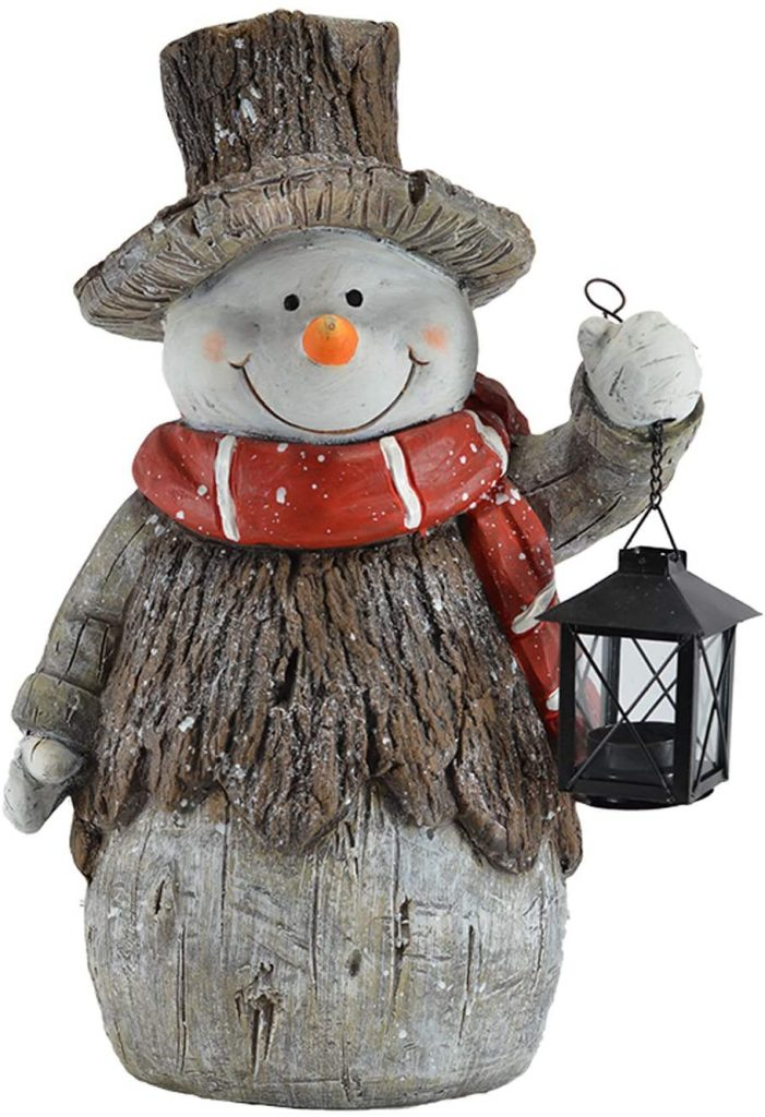 Mark Feldstein & Associates Woodsy Snowman with Lantern LED Light Up 17 Inch Resin Stone Door Greeter Figurine