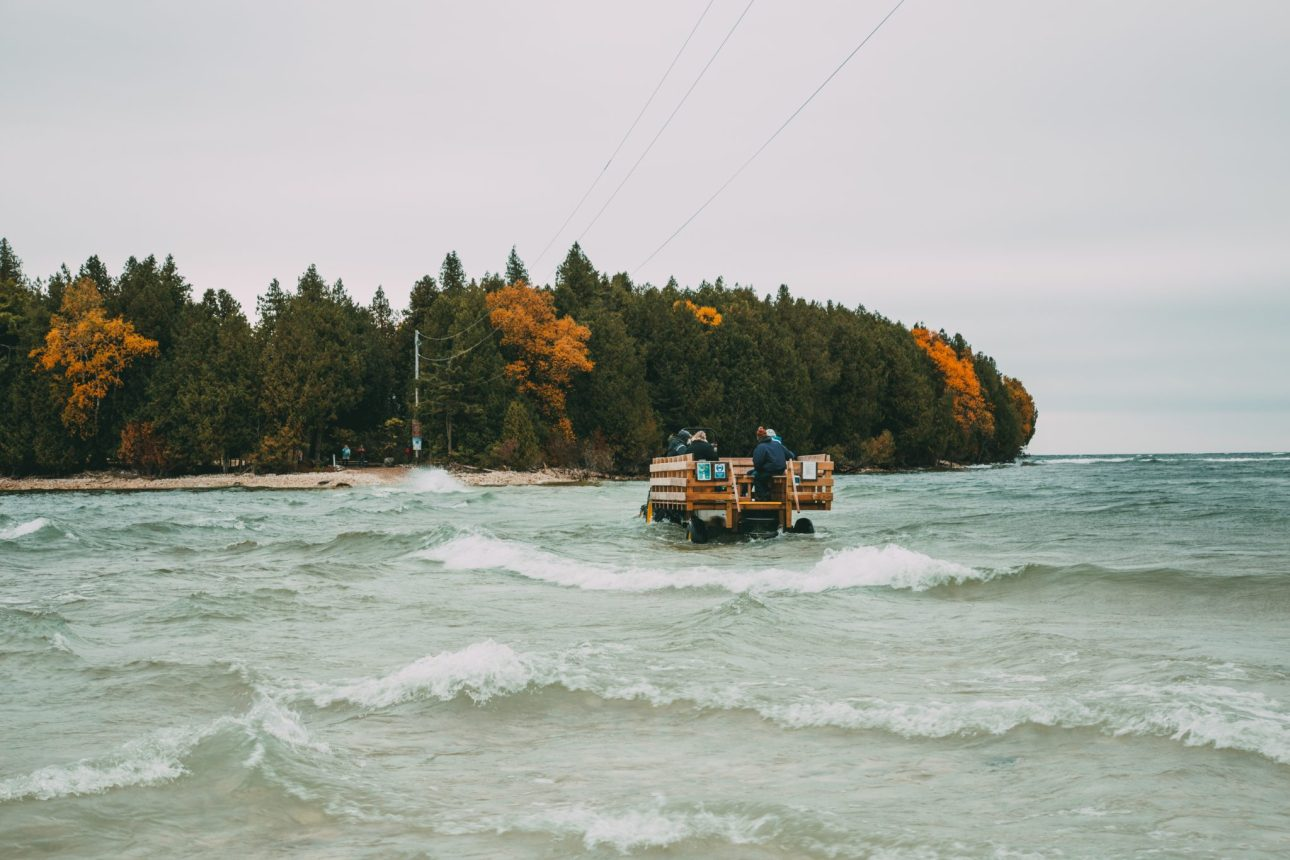 The tractor that takes you to the Cana Island Lighthouse
