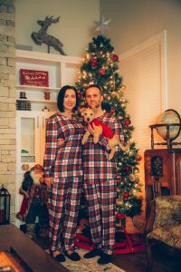 The Scotch On The Rocks matching couples Christmas pajamas set by Shinesty