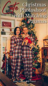 Christmas photoshoot idea featuring matching Shinesty Christmas pajamas