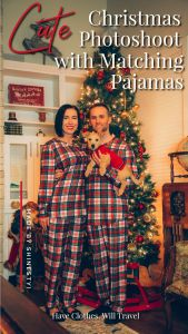 Christmas photoshoot idea featuring matching Shinesty Christmas pajamas