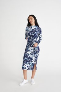 Castile Dress in Indigo Floral