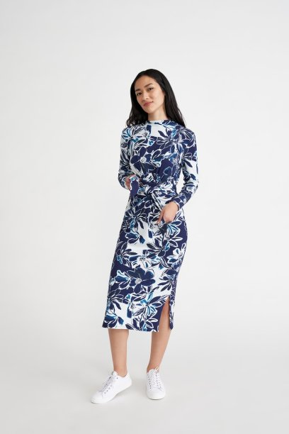 Castile Dress in Indigo Floral